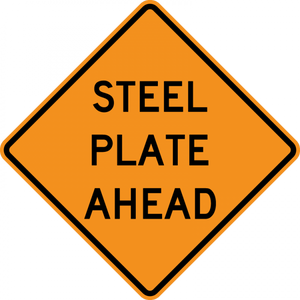 CW8-24-Steel Plate Ahead - Municipal Supply & Sign Co.