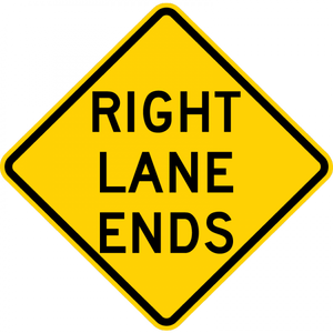 W9-1-Left (Right) Lane Ends Sign