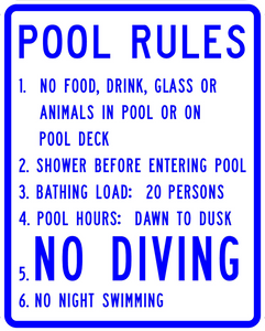 Pool Rules - Municipal Supply & Sign Co.