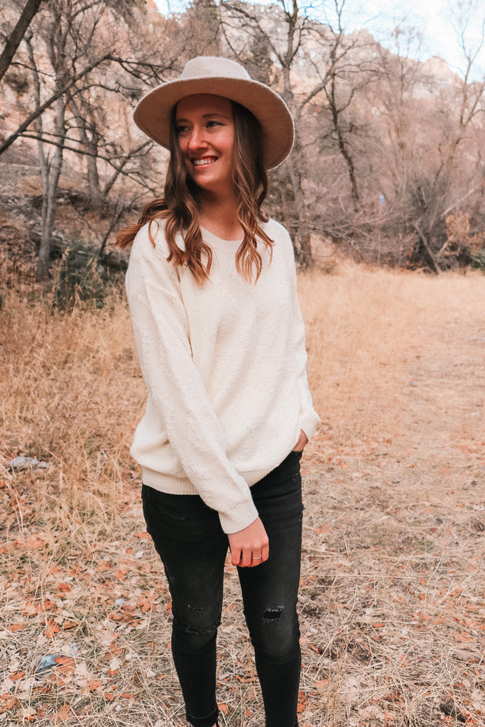 Roma Heart Sweater - Ivory