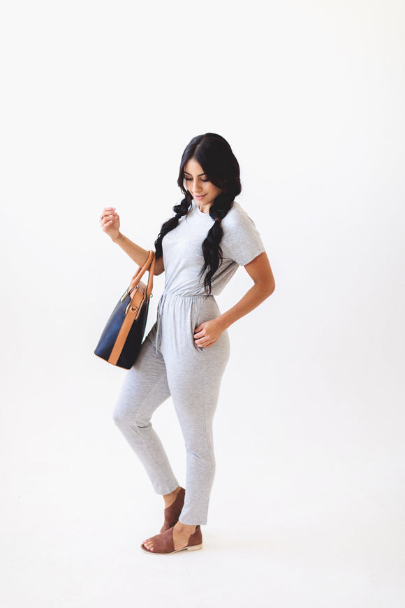 The On the Run Jumpsuit in Grey
