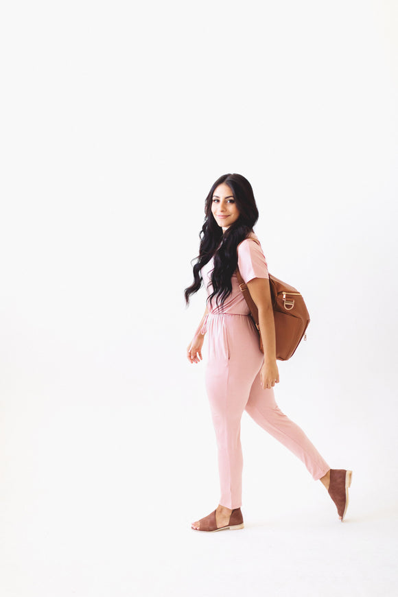 The On the Run Jumpsuit in Blush