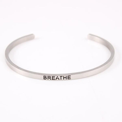 Breathe Mantra Quote Cuff in Silver