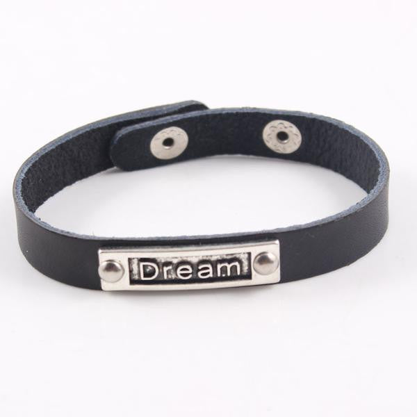 Dream Leather Black Band Bracelet