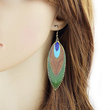 Enamel Peacock Feather Shape Drop Earring
