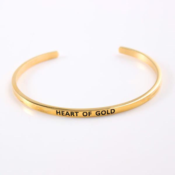 Inspirational Sayings Cuff in Gold