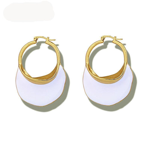 Enamel White or Blue Hoop Earrings