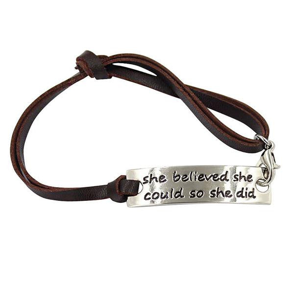 Engraved Metal Bracelet in Brown Leather