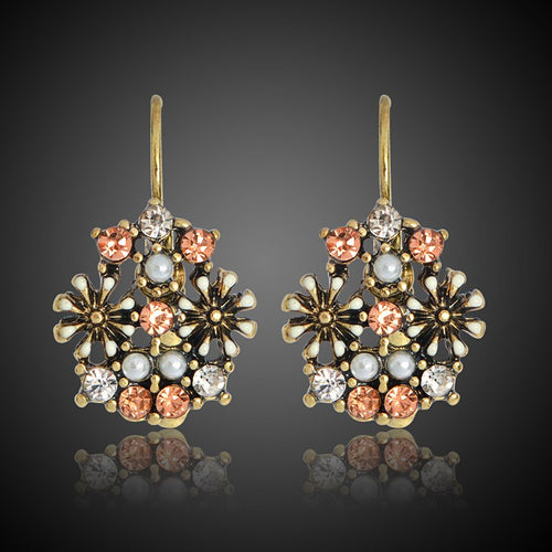 Vintage Flower Colorful Earrings