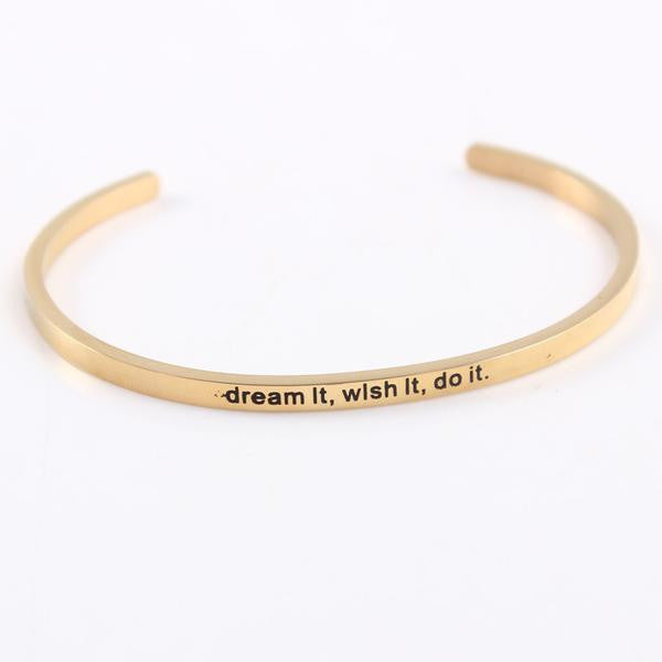 Inspirational Gold Color Cuff