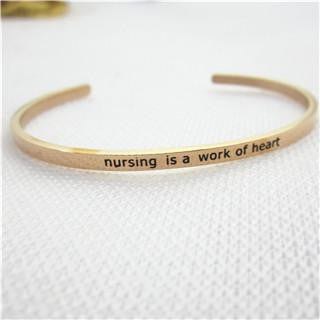 Engraved Nurse Gold Color Bangle Cuff