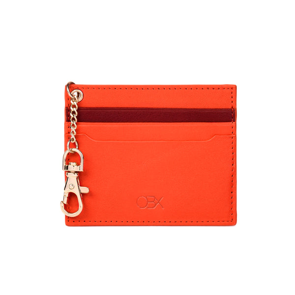 2-Tone Cardholder with Key Chain, Orange/Raisin