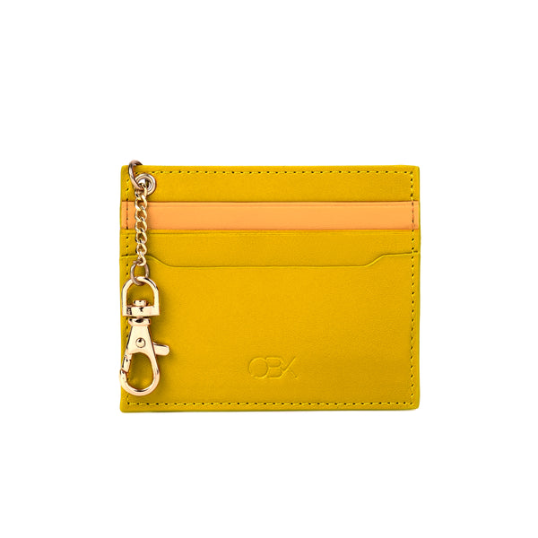 2-Tone Cardholder with Key Chain, Yellow/Inca Gold