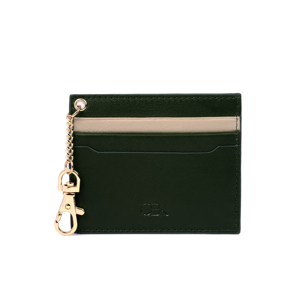 2-Tone Cardholder with Key Chain, Kale/Taupe