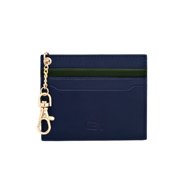 2-Tone Cardholder with Key Chain, Navy/Kale