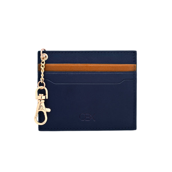 2-Tone Cardholder with Key Chain, Navy/Melon