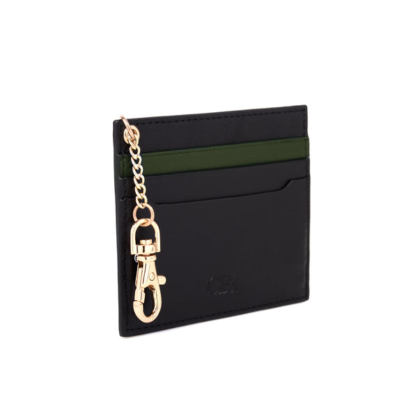 2-Tone Cardholder with Key Chain, Black/Kale