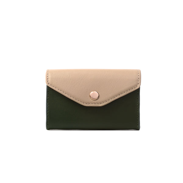 2 Tone Card Holder, Kale/Taupe
