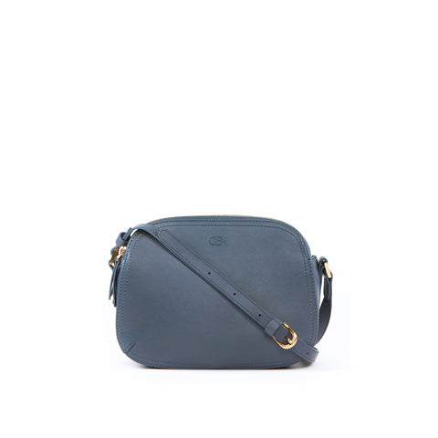 Rounded Shoulder Bag, Grey Blue
