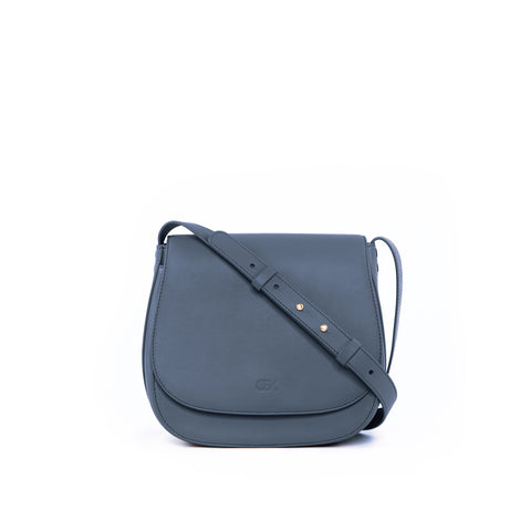 Classic Multi-Gussets Saddle Bag, Grey Blue