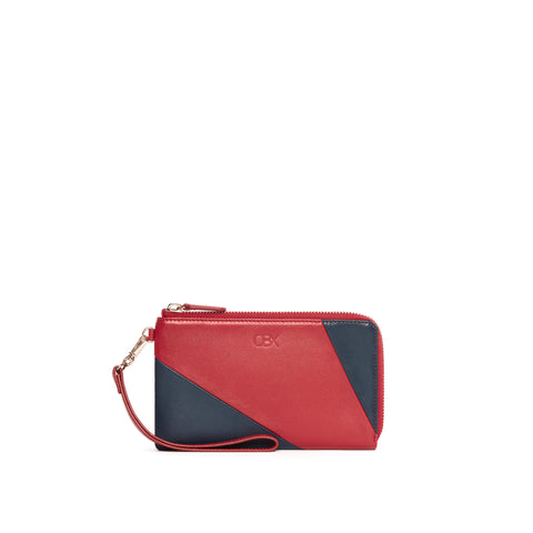Leather Functional Pouch, Red/Navy
