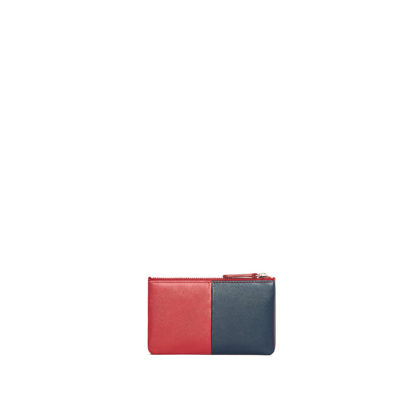 Leather Card Purse, Red/Navy