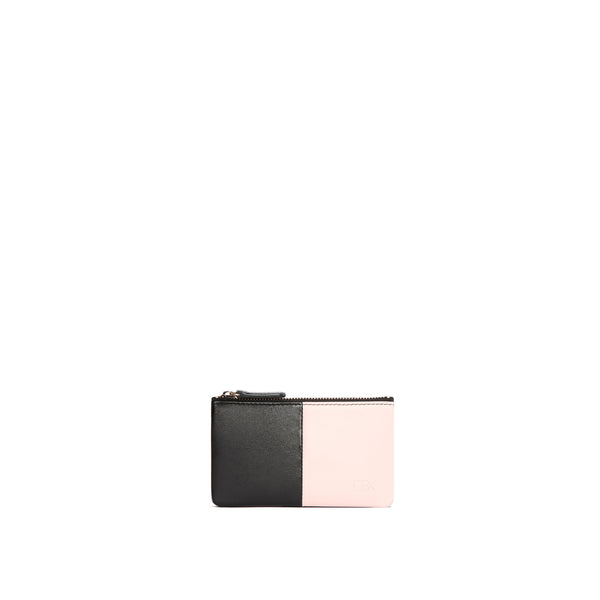Leather Card Purse, Rose/Black