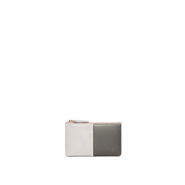 Leather Card Purse, Dark Grey/ Gull Grey