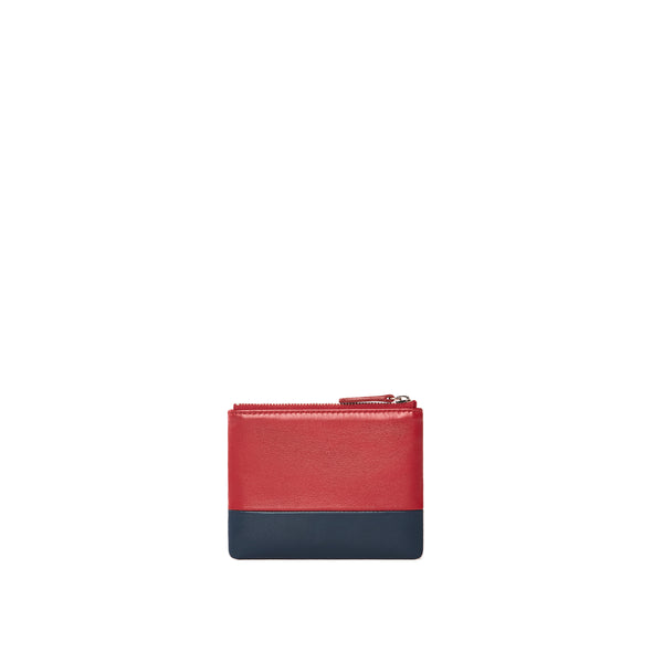 Leather Coin Pouch, Red/Navy