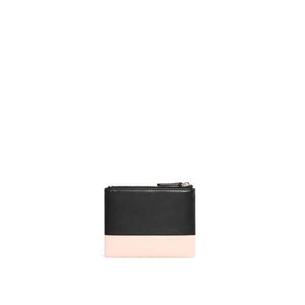 Leather Coin Pouch, Rose/Black