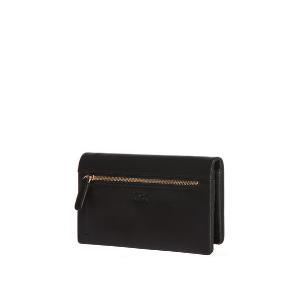 Leather Continental Wallet, Black
