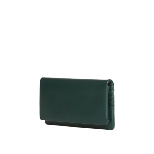 Leather Continental wallet, Kale