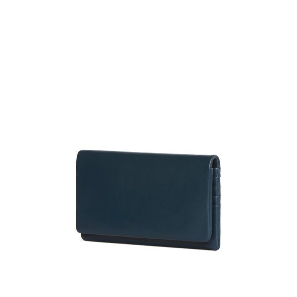 Leather Continental wallet, Blue