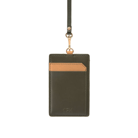 Leather Strap Badge holder, Dark Green/Brown