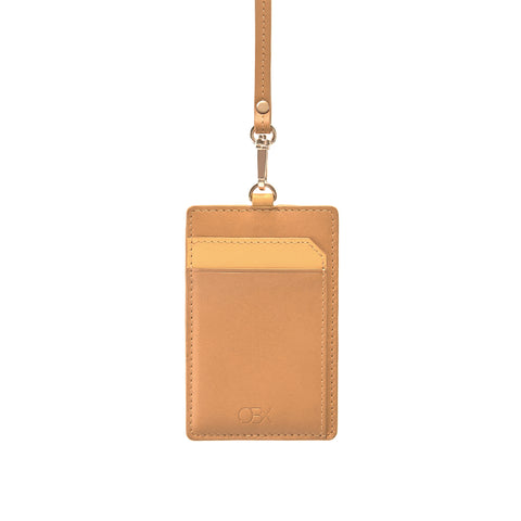 Leather Strap Badge holder, Brown/Yellow