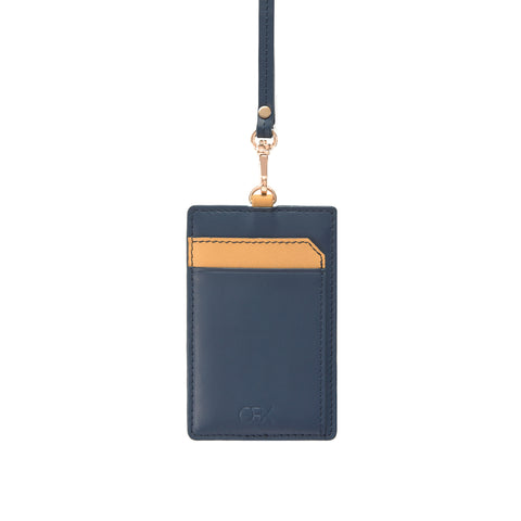 Leather Strap Badge holder, Navy/Yellow