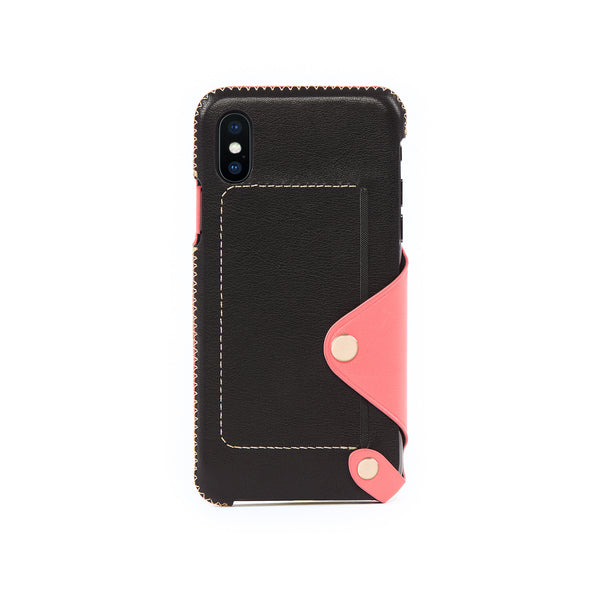 Leather Pocket Case for iPhone X / iPhone Xs, Pink Roses