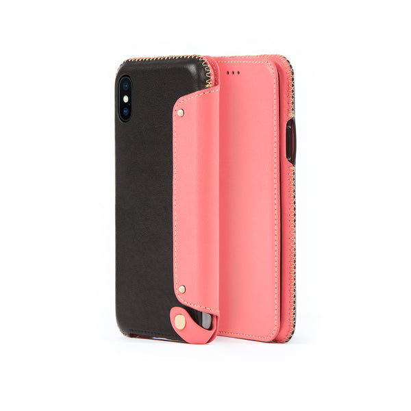 Leather Folio Case for iPhone X / iPhone Xs, Pink Roses