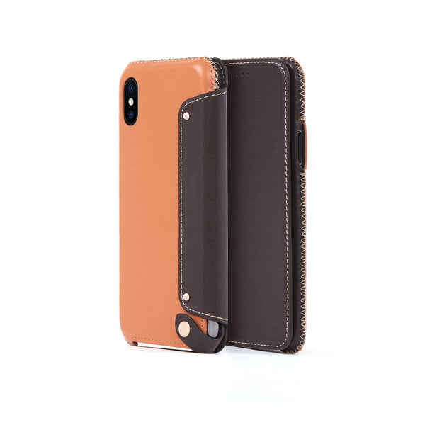 Leather Folio Case for iPhone X / iPhone Xs, Irish Layered