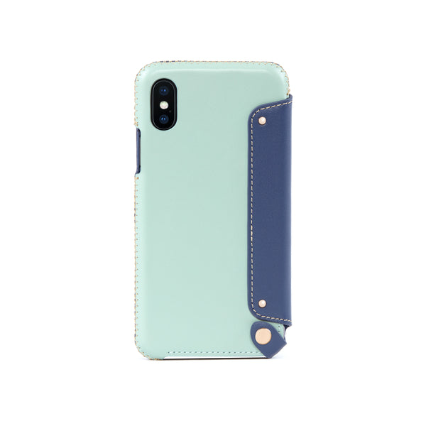 Leather Folio Case for iPhone X / iPhone Xs, Seafoam