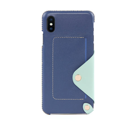 Leather Pocket Case for iPhone Xs Max, Seafoam