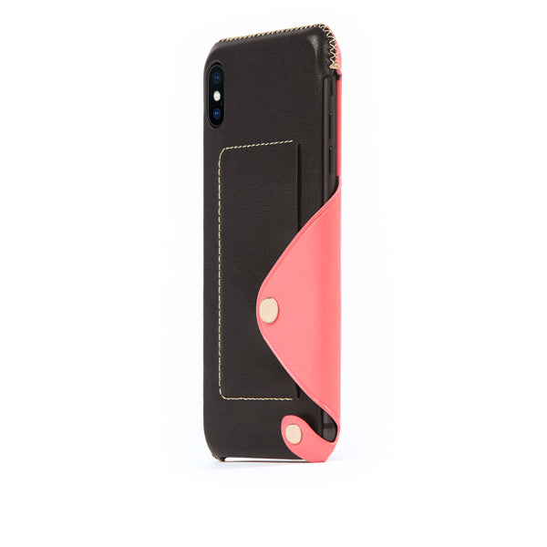 Leather Pocket Case for iPhone Xs Max, Pink Roses