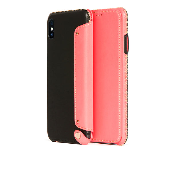 Leather Folio Case for iPhone Xs Max, Pink Roses