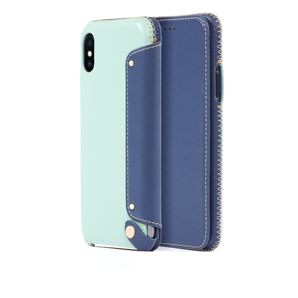 Leather Folio Case for iPhone Xs Max, Seafoam