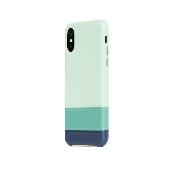 Striped Leather Snap-On Case for iPhone X / iPhone Xs, Seafoam