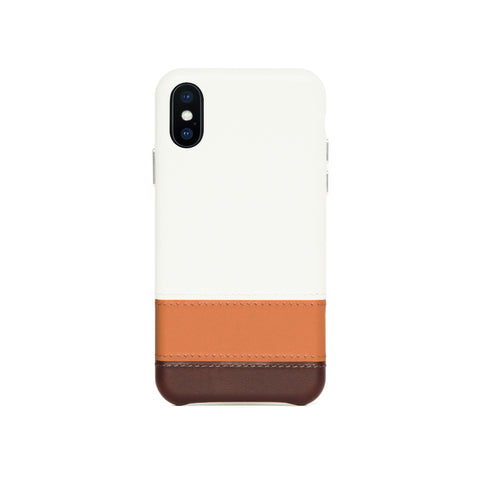Striped Leather Snap-On Case for iPhone X / iPhone Xs, Irish Layered