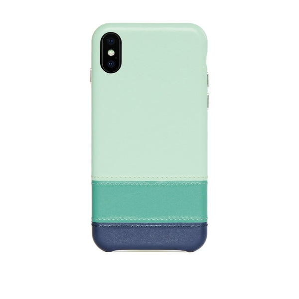 Striped Leather Snap-On Case for iPhone Xs Max, Seafoam