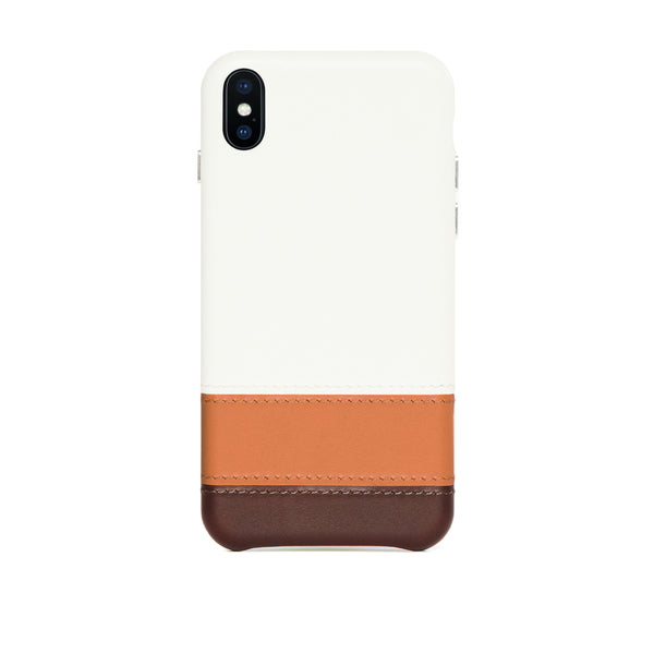 Striped Leather Snap-On Case for iPhone Xs Max, Irish Layered