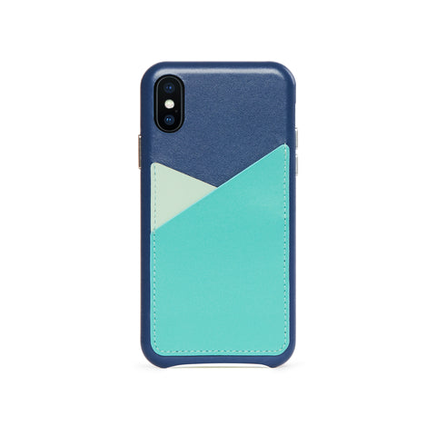 Patchwork Leather Snap-On Case for iPhone X / iPhone Xs, Seafoam