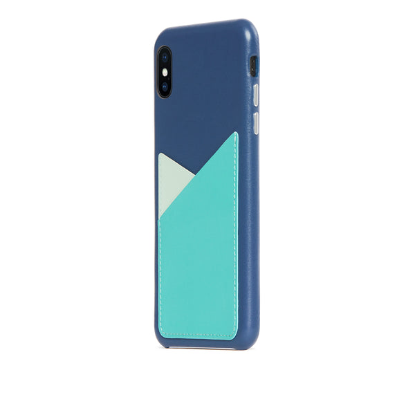 Patchwork Leather Snap-On Case for iPhone Xs Max, Seafoam